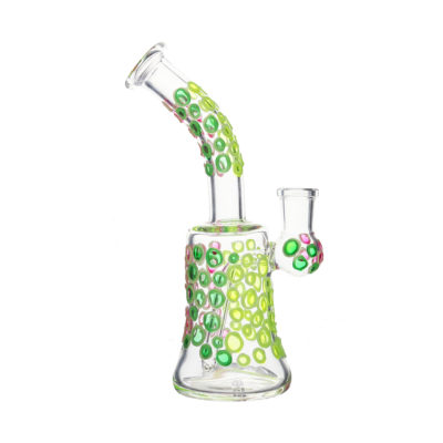 Glass Bongs - Bell Base Shape with Glowing Coloured Spots Glass Bong 18cm JL9390