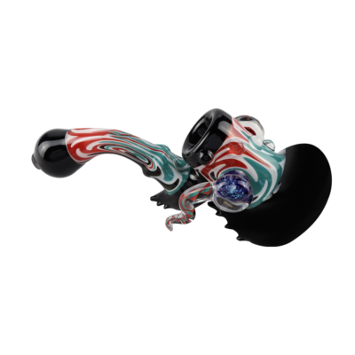 Glass Smoking Pipes - Coloured Striped Sherlock Smoking Pipe 12.5cm