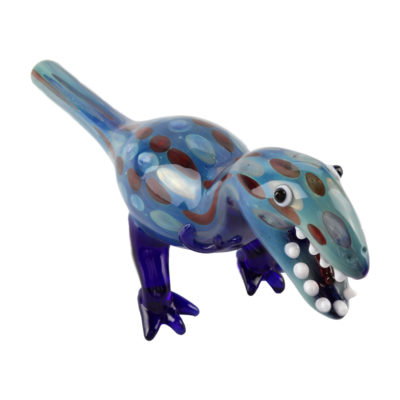 Glass Smoking Pipes - Blue Glass Dinosaur Hand Pipe 22cm