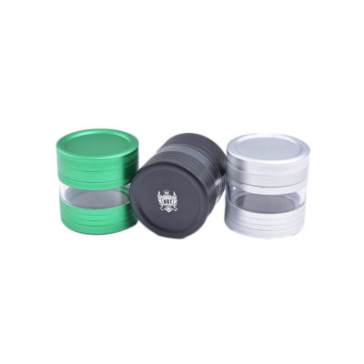 Herb Grinders - NBT Metal Herb Grinder With Glass 63mm 4xParts