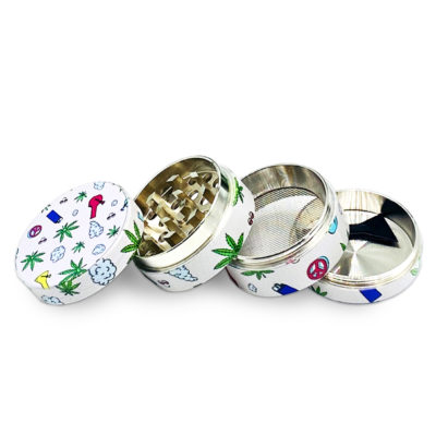 Metal Herb Grinders - NBT B-29 Metal Grinder For Herb With Art Decoration 50mm 4xParts Opened